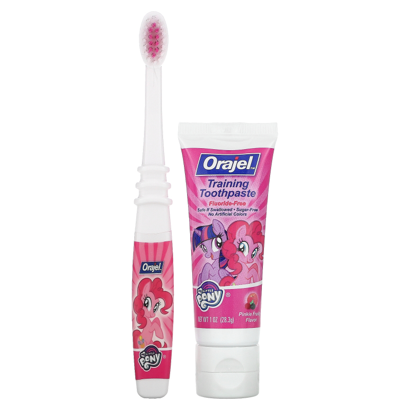 Orajel, My Little Pony Training Toothpaste with Toothbrush, Flouride Free, Pinkie Fruity Flavor, 3 Months to 4 Years, 1 oz (28.3 g)