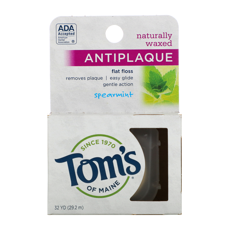 Tom's of Maine, Naturally Waxed Antiplaque Flat Floss, Spearmint, 30 m (32 yds)