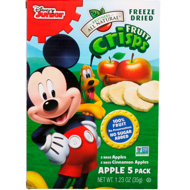 Brothers-All-Natural, Fruit Crisps, Disney Junior, Apples and Cinnamon Apples, 5 Pack, 1.23 oz (35 g)