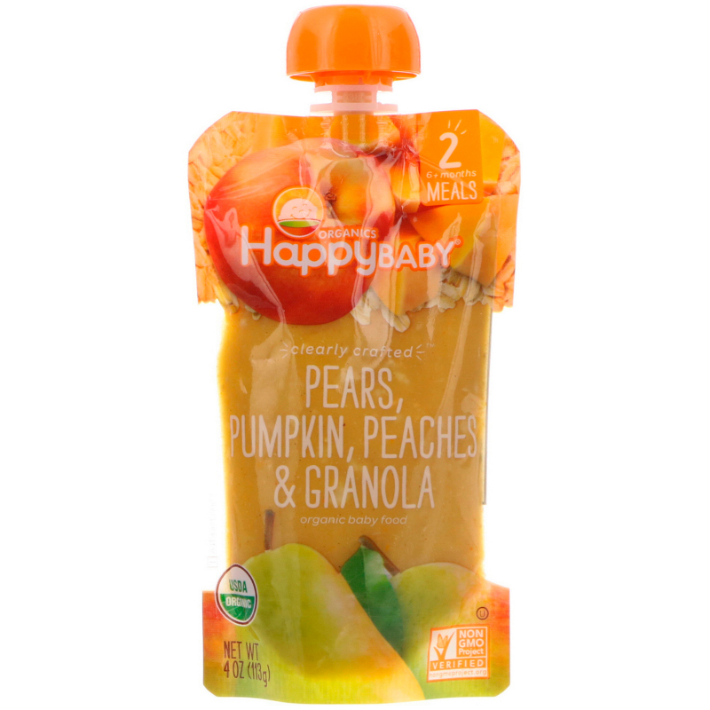 Happy Family Organics, Organic Baby Food, Stage 2, Clearly Crafted, Pears, Pumpkin, Peaches & Granola, 6+ Months, 4 oz (113 g)