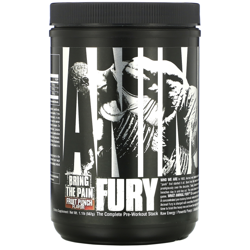 Universal Nutrition, Animal Fury, Fruit Punch, 491.4 g