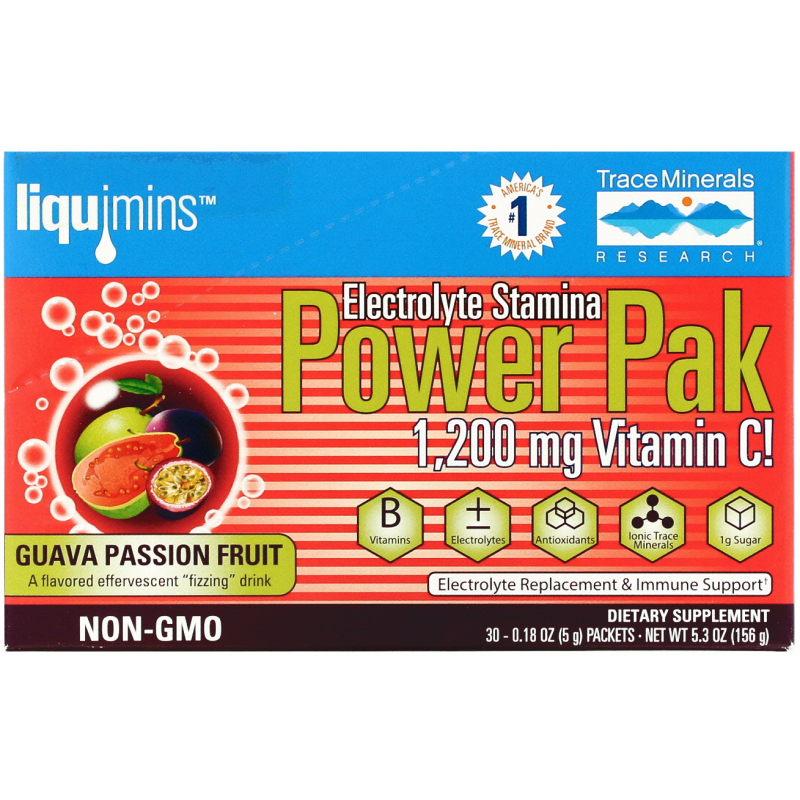 Trace Minerals Research, Electrolyte Stamina, Power Pak, Guava Passion Fruit, 1200 mg, 30 Packets, 0.18 oz (5 g) Each