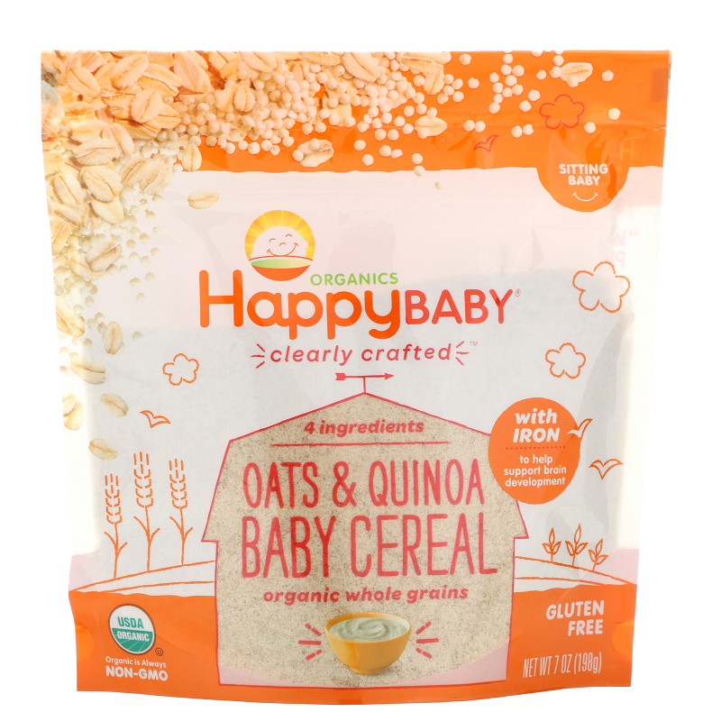 Happy Family Organics, Organics, Clearly Crafted, Oats & Quinoa Baby Cereal, 7 oz (198 g)