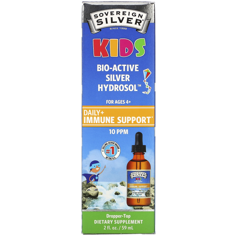 Sovereign Silver, Bio-Active Silver Hydrosol, For Kids, Daily Immune Support, 10 ppm, 2 fl oz (59 ml)
