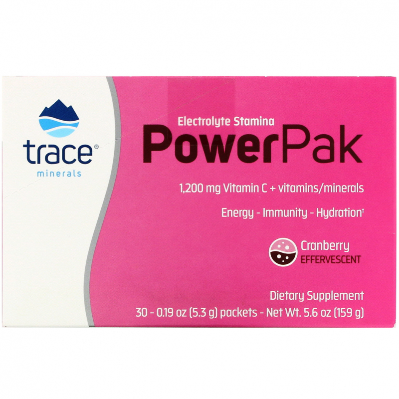 Trace Minerals Research, Electrolyte Stamina, Power Pak, Cranberry, 1200 mg, 30 Packets, 0.19 oz (5.3 g) Each