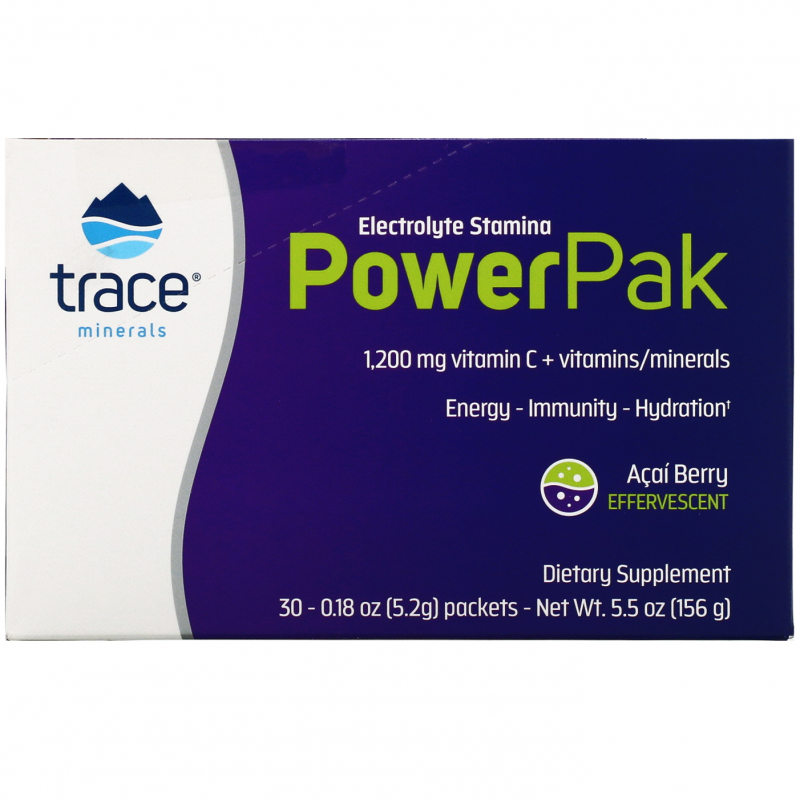 Trace Minerals Research, Electrolyte Stamina, Power Pak, Acai, 1200 mg, 30 Packets, 0.18 oz (5.2 g) Each
