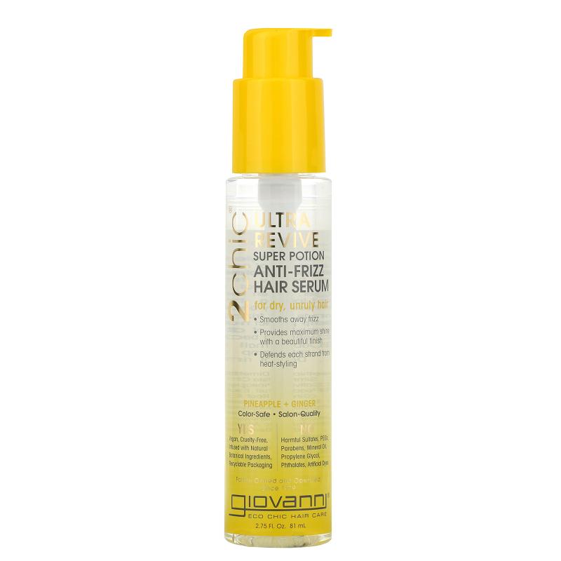 Giovanni, 2chic, Ultra-Revive Super Potion Anti-Frizz Hair Serum, Pineapple & Ginger, 2.75 fl oz (81 ml)