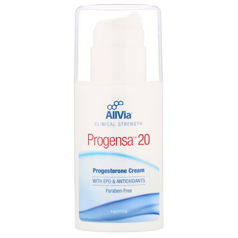 AllVia, Progensa 20, Natural Progestrone Cream, Unscented, 4 oz (113.6 g)