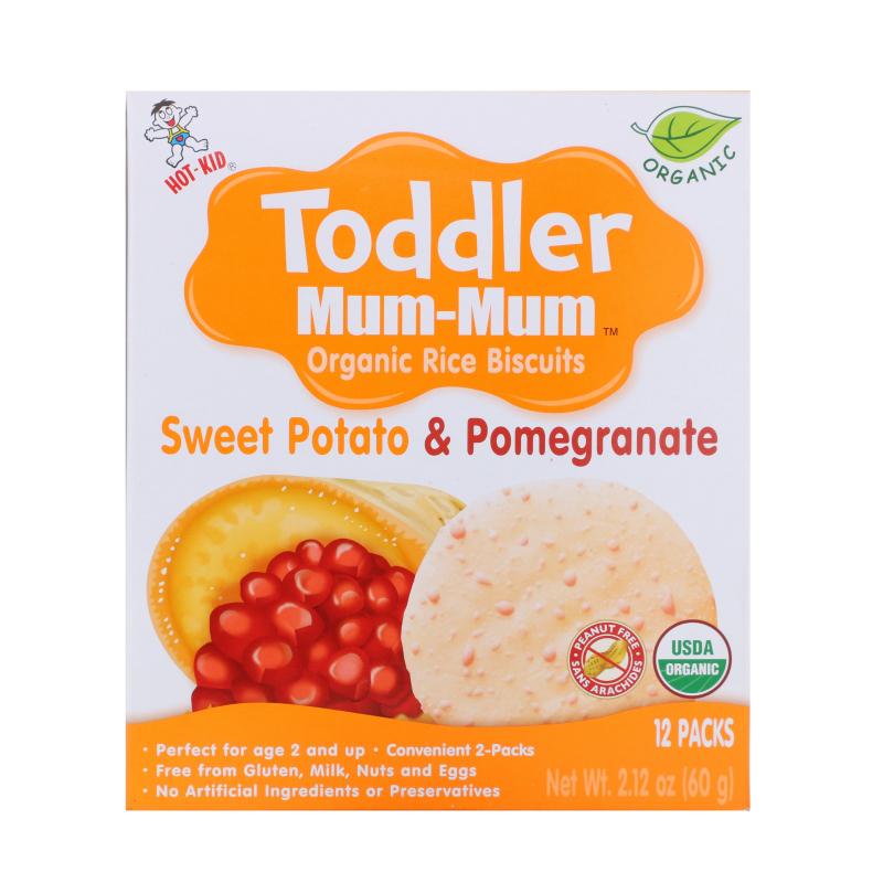 Hot Kid, Toddler Mum-Mum, Organic Rice Biscuits, Sweet Potato & Pomegranate, 12 Packs, 2.12 oz (60 g)