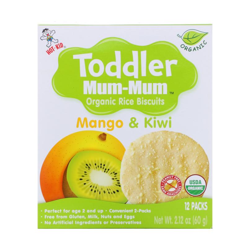 Hot Kid, Toddler Mum-Mum, Organic Rice Biscuits, Mango & Kiwi, 12 Packs, 2.12 oz (60 g)