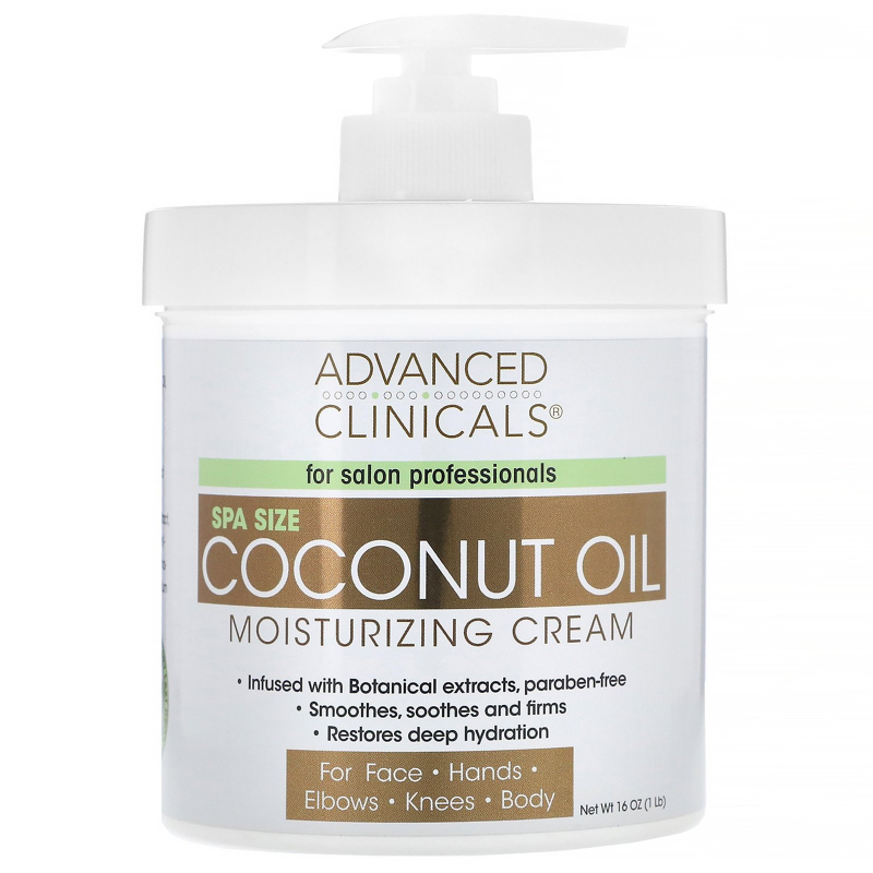 Advanced Clinicals, Coconut Oil Moisturizing Cream, 16 oz (454 g)