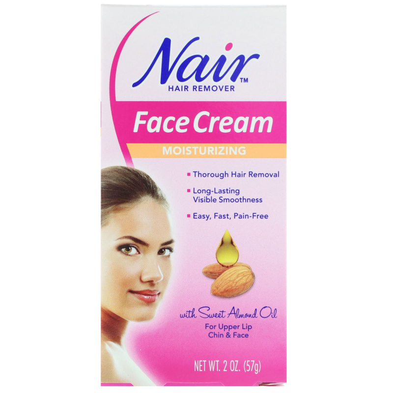 Nair , Hair Remover, Moisturizing Face Cream, For Upper Lip, Chin and Face, 2 oz (57 g)