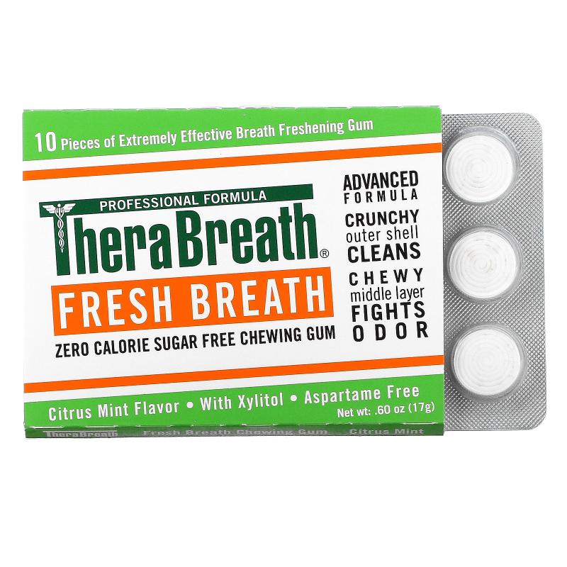 TheraBreath, Fresh Breath, Sugar Free Chewing Gum, Citrus Mint Flavor, 6 Pack, 10 Pieces Each