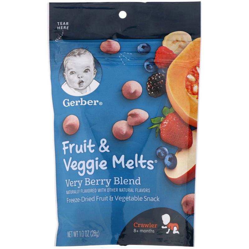 Gerber, Fruit & Veggie Melts, Very Berry Blend, Crawler 8+ Months, 1.0 oz (28 g)