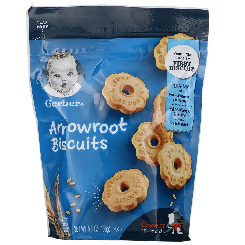 Gerber, Arrowroot Biscuits, Crawler, 10+ Months, 5.5 oz (155 g)