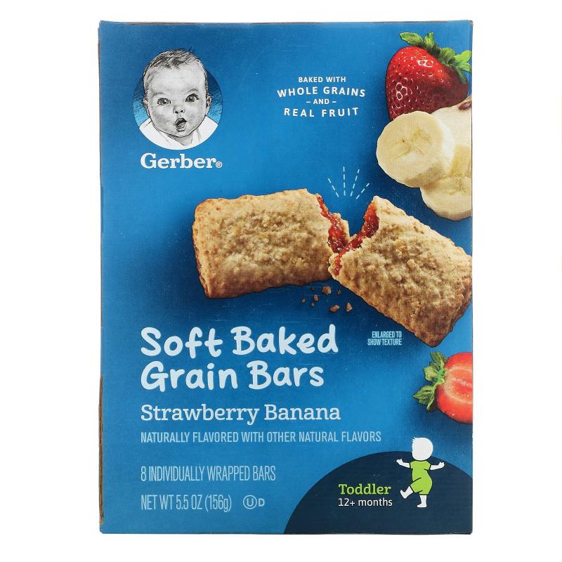 Gerber, Cereal Bars, Strawberry Banana, Toddler, 8 Bars, 5.5 oz (156 g)