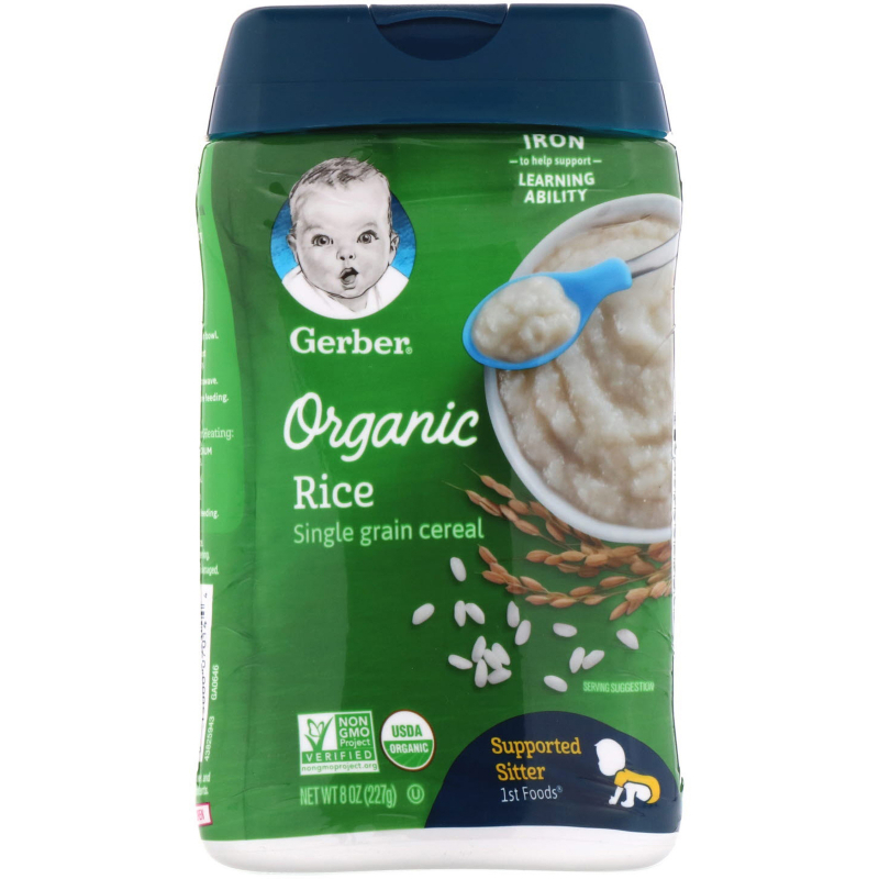 Gerber, 1st Foods, Organic Rice, Single Grain Cereal, Supported Sitter, 8 oz (227 g)