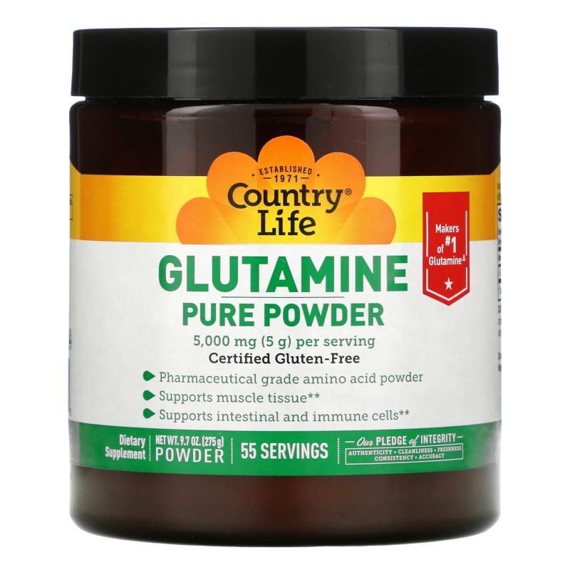 Country Life, Glutamine Pure Powder, 5,000 mg, 9.7 oz (275 g)