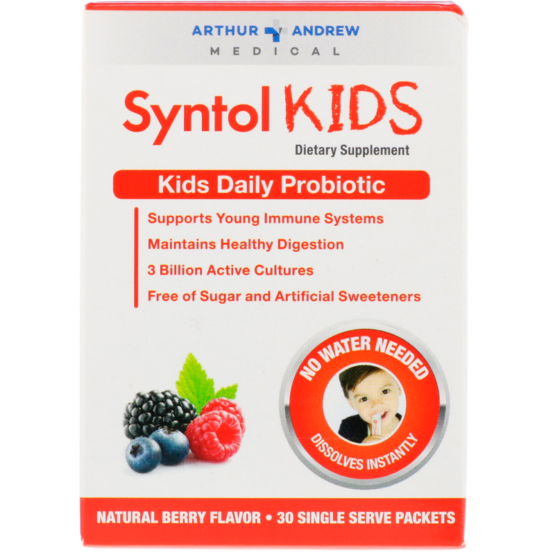 Arthur Andrew Medical, Syntol Kids, Kids Daily Probiotic, Natural Berry Flavor, 30 Single Serve Packets