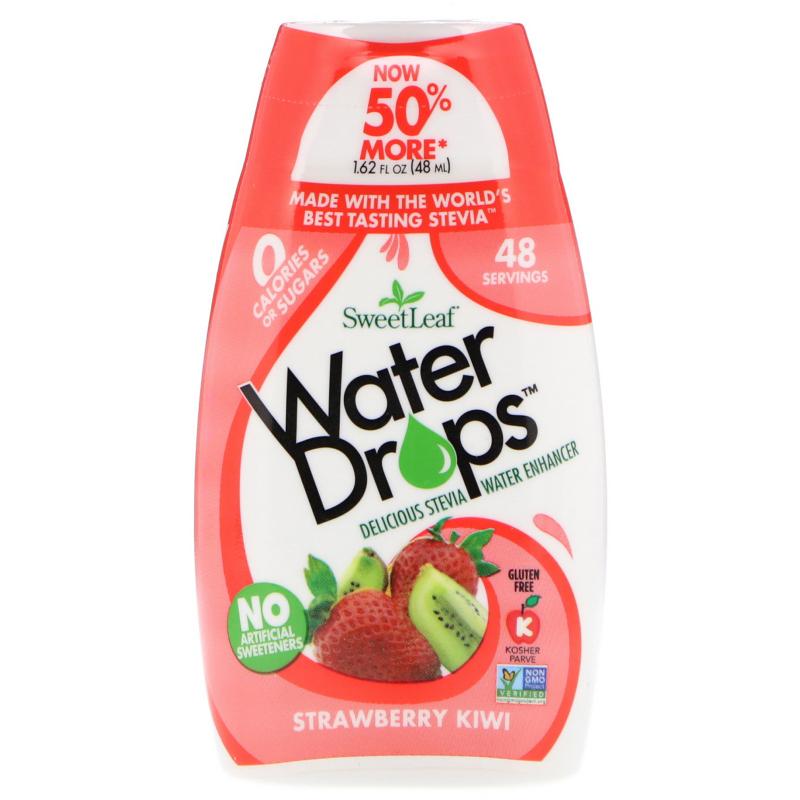 Wisdom Natural, SweetLeaf, Water Drops, Delicious Stevia Water Enhancer, Strawberry Kiwi, 1.62 fl oz (48 ml)