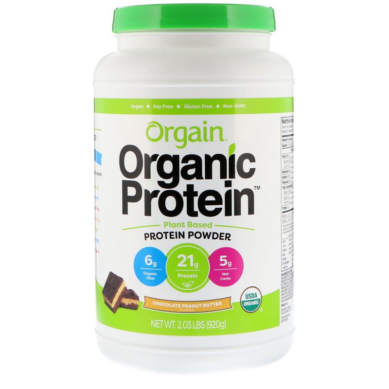 Orgain, Organic Protein Powder, Plant Based, Chocolate Peanut Butter, 2.03 lb (920 g)