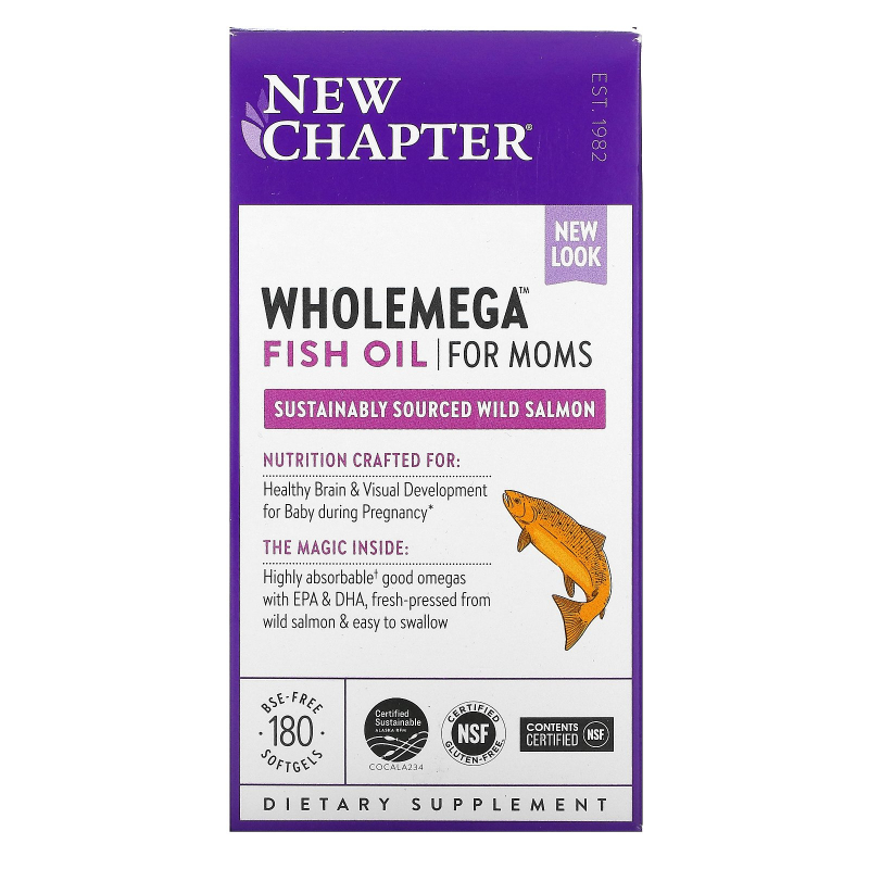 New Chapter, Wholemega For Moms, 500 mg, 180 Softgels