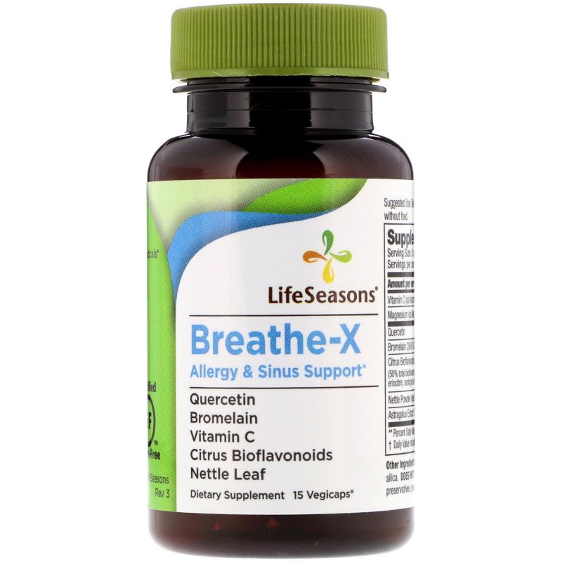 LifeSeasons, Breathe-X, Allergy & Sinus Support, 15 Vegetarian Capsules