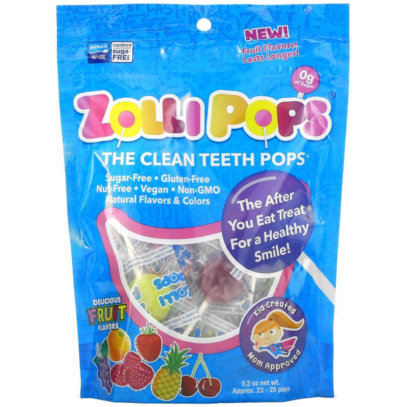 Zollipops , The Clean Teeth Pops, Strawberry, Orange, Raspberry, Cherry, Grape, Pineapple, 25+ ZolliPops, 5.2 oz