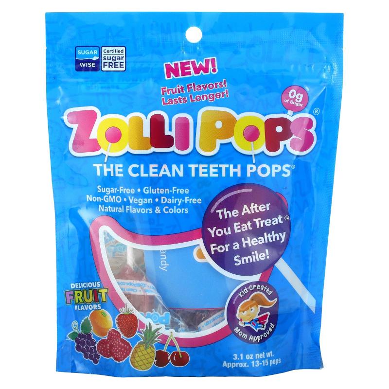 Zollipops , The Clean Teeth Pops, Strawberry, Orange, Raspberry, Cherry, Grape, Pineapple, Approx. 15 Pops, 3.1 oz