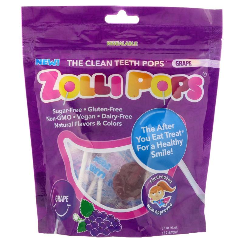 Zollipops , The Clean Teeth Pops, Grape, 15 ZolliPops, 3.1 oz