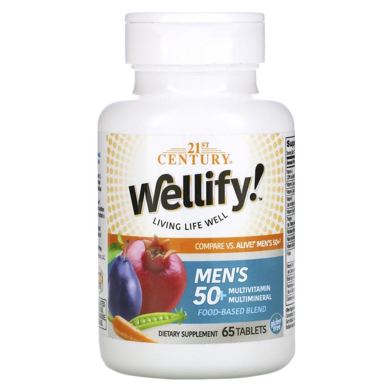 21st Century, Wellify, Men's 50+, Multivitamin Multimineral, 65 Tablets
