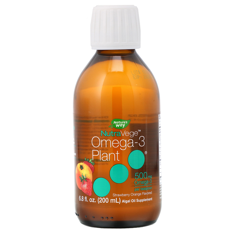 Ascenta, NutraVege, Omega-3 Plant, Strawberry Orange Flavored, 500 mg, 6.8 fl oz (200 ml)