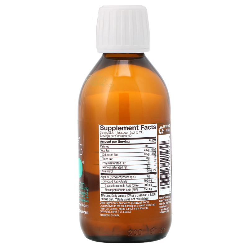 Ascenta, NutraVege, Omega-3 Plant, Strawberry Orange Flavored, 500 mg, 6.8 fl oz (200 ml)