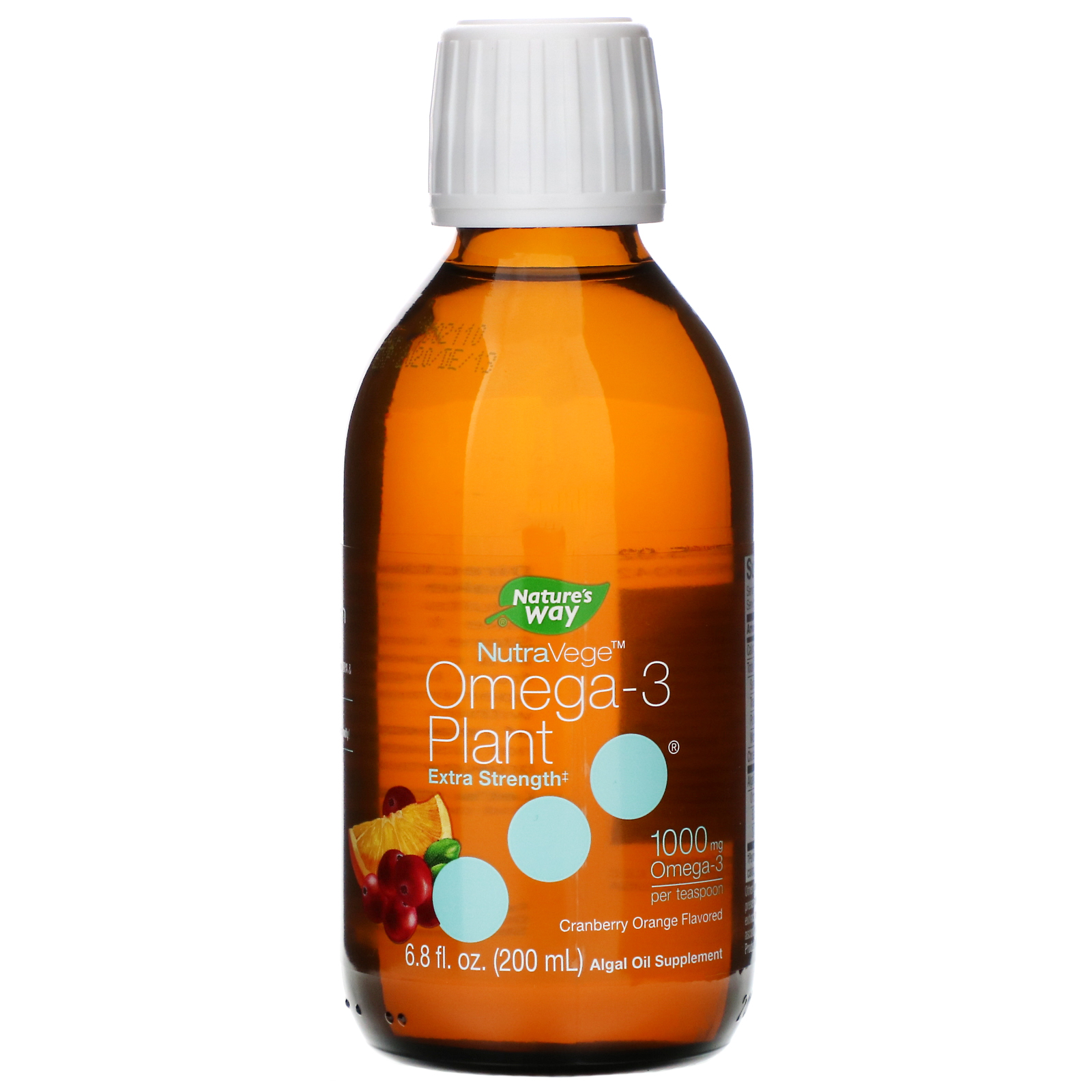 Ascenta, NutraVege, Omega-3 Plant, Extra Strength, Cranberry Orange Flavored, 1000 mg, 6.8 fl oz (200 ml)