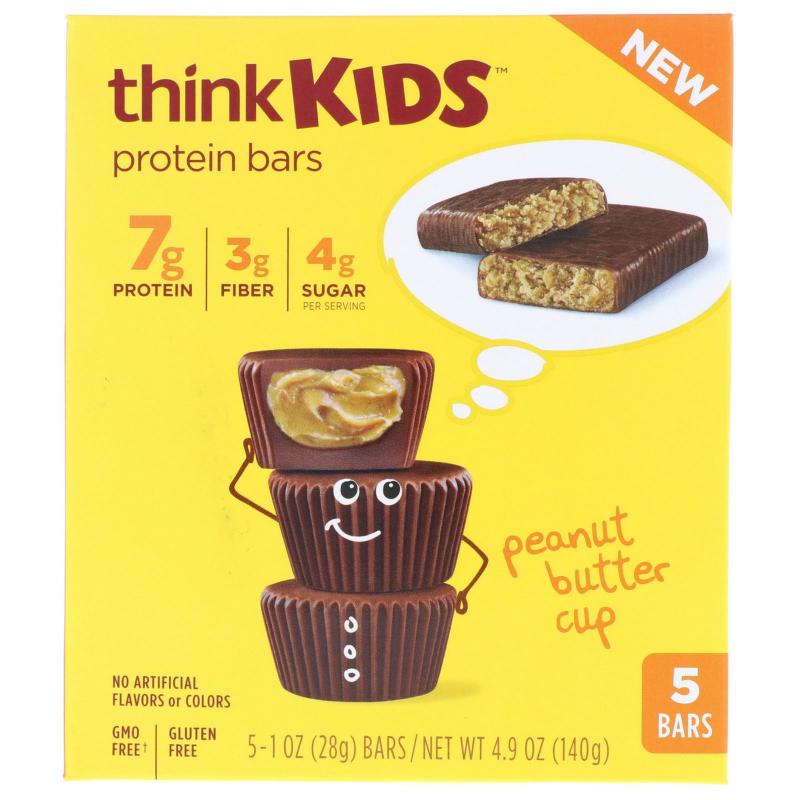 ThinkThin, ThinkKids, Protein Bars, Peanut Butter Cup, 5 Bars, 1 oz (28 g ) Each