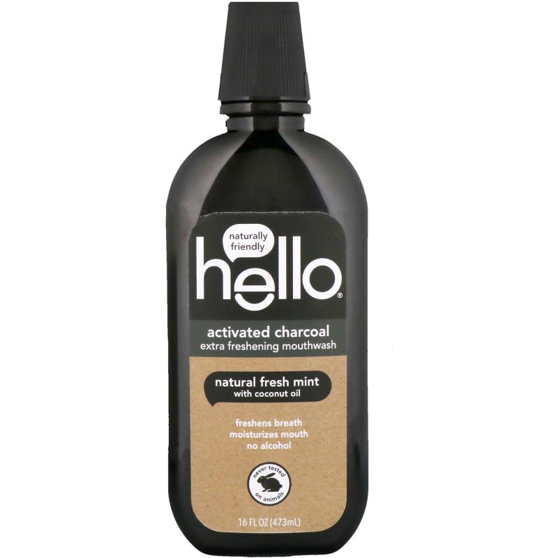 Hello, Activated Charcoal, Extra Freshening Mouthwash, Natural Fresh Mint, 16 fl oz (473 ml)