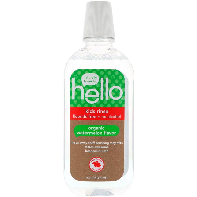 Hello, Kids Rinse, Fluoride Free + No Alcohol, Organic Watermelon Flavor, 16 fl oz (473 ml)