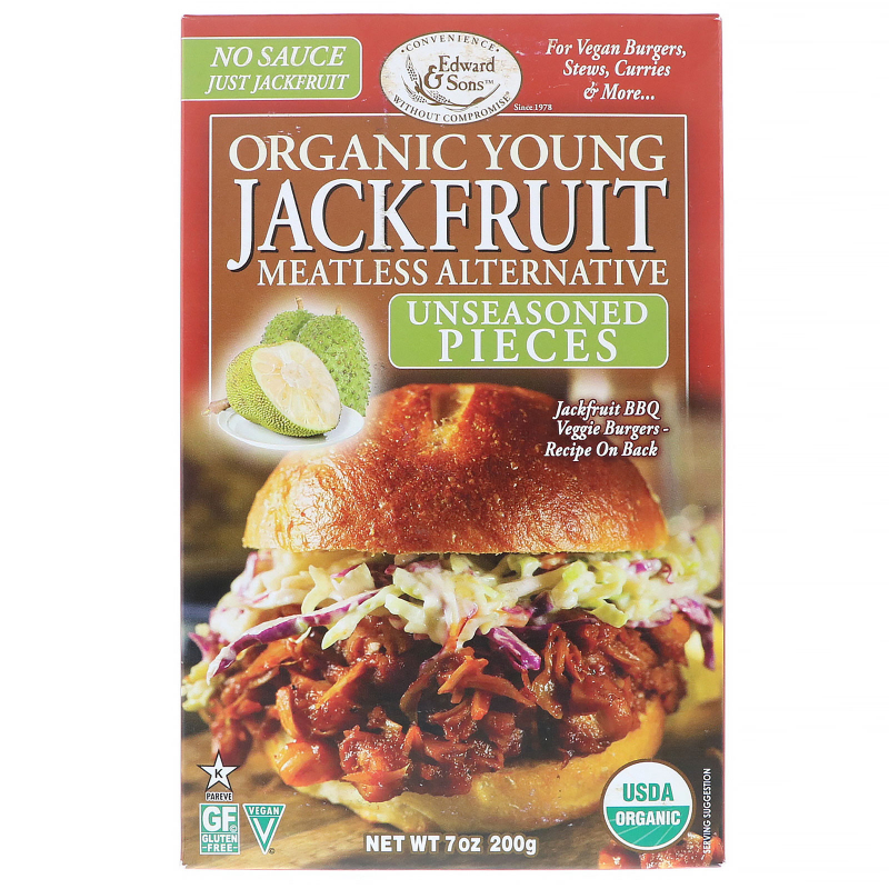 Edward & Sons, Organic Young Jackfruit, Unseasoned Pieces, 7 oz (200 g)