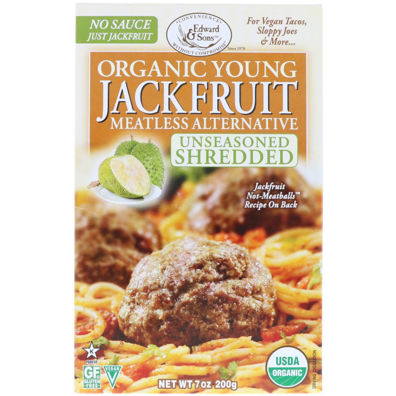 Edward & Sons, Organic Young Jackfruit, Unseasoned Shredded, 7 oz (200 g)