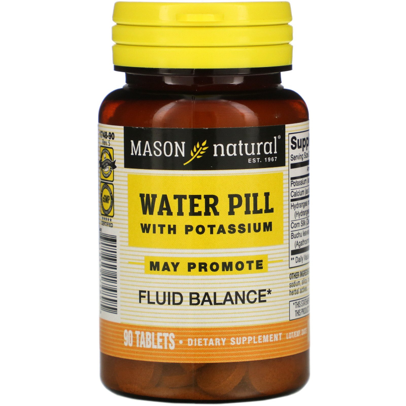 Mason Natural, Water Pill with Potassium, 90 Tablets