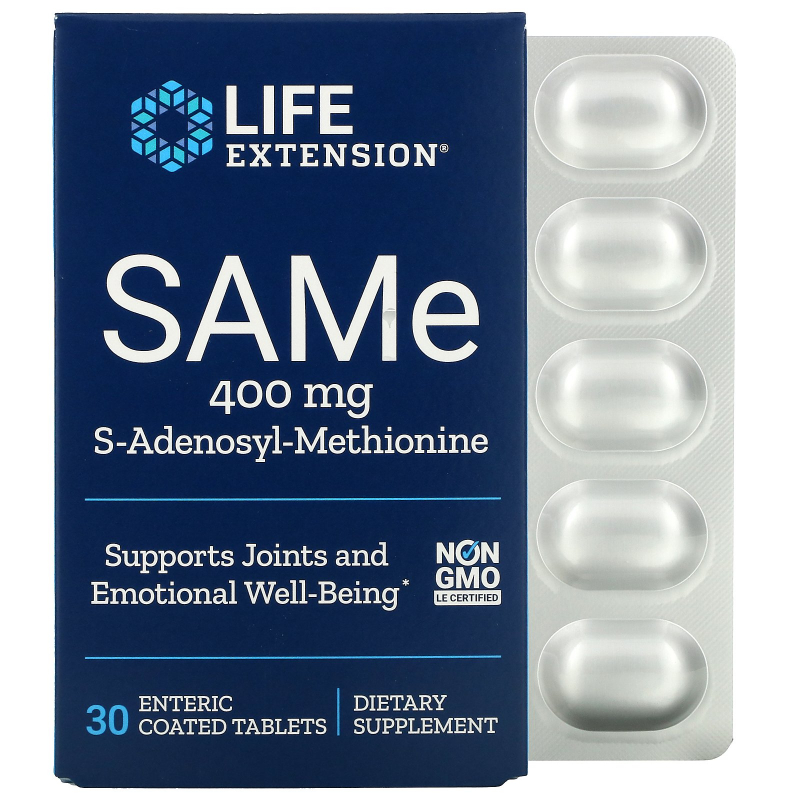 Life Extension, SAMe, S-Adenosyl-Methionine, 400 mg, 30 Enteric Coated Tablets