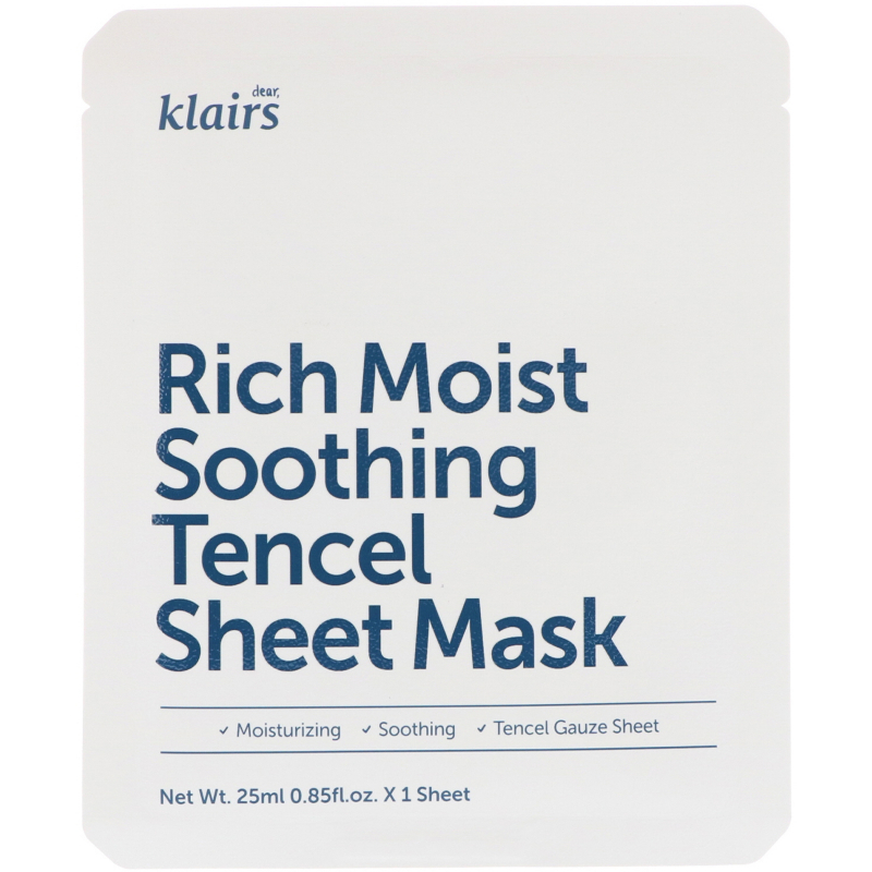 Dear, Klairs, Rich Moist Soothing Tencel Sheet Mask, 1 Mask, 0.85 fl oz (25 ml)