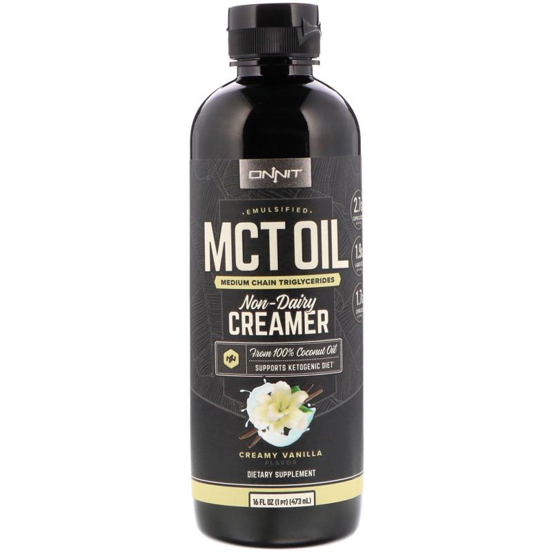 Onnit, Emulsified MCT Oil, Non-Dairy Creamer, Creamy Vanilla, 16 fl oz (473 ml)