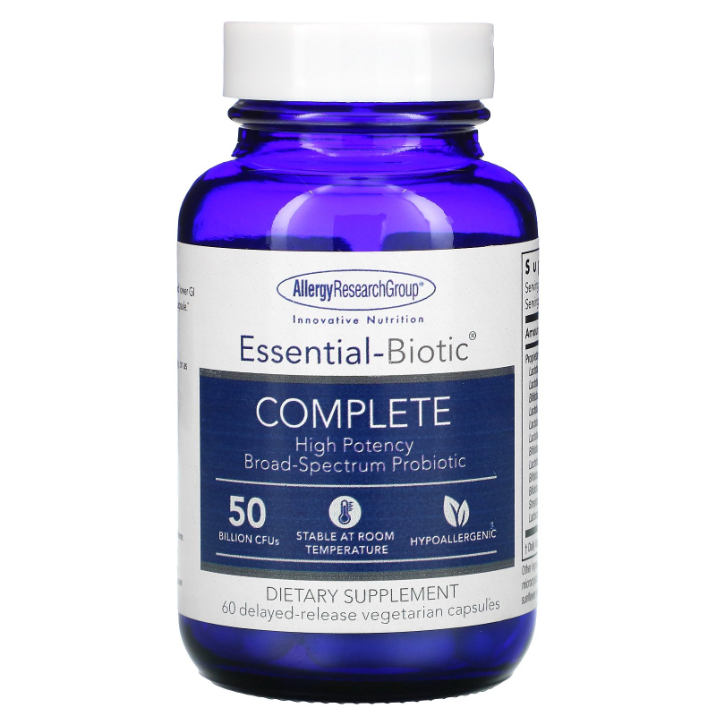 Allergy Research Group, Essential-Biotic Complete, 50 Billion CFU's, 60 Delayed-Release Vegetarian Capsules