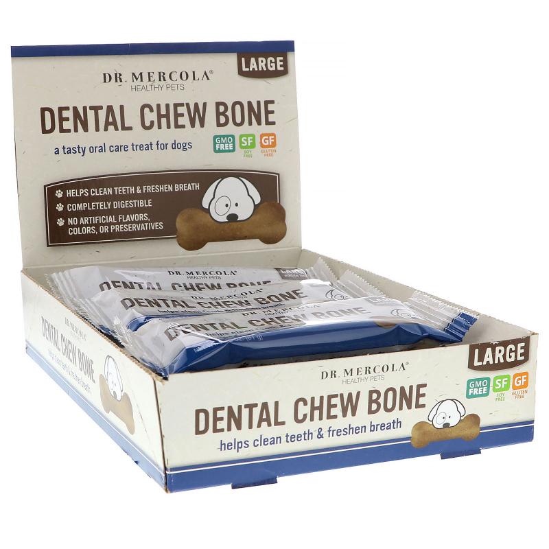 Dr. Mercola, Dental Chew Bone, Large, For Dogs, 12 Bones, 2.15 oz (61 g) Each