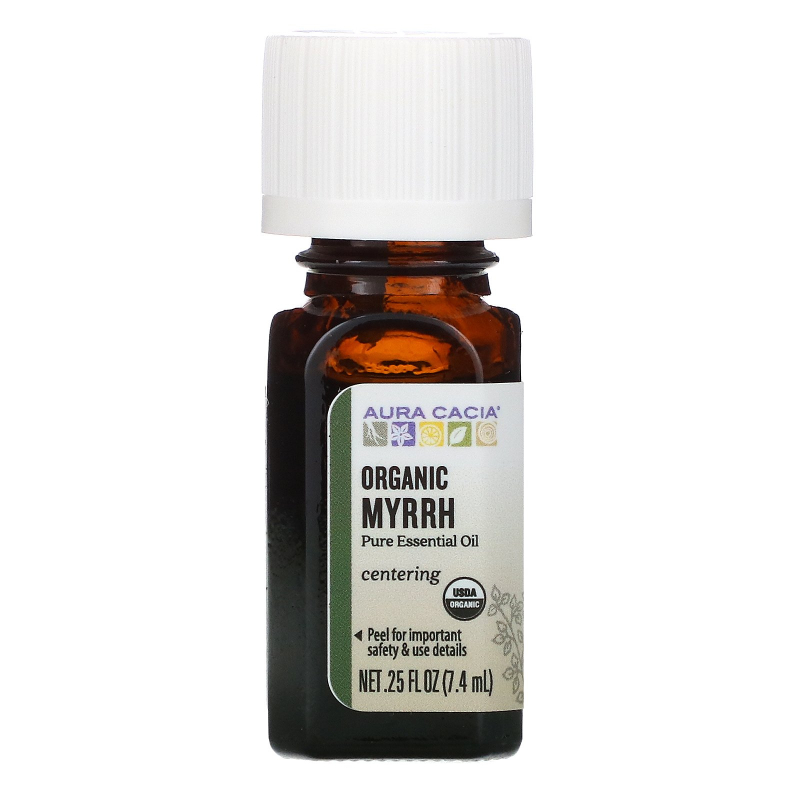 Aura Cacia, Pure Essential Oil, Organic Myrrh, .25 fl oz (7.4 ml)