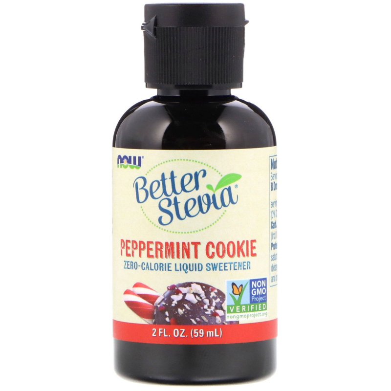 Now Foods, Better Stevia, Zero-Calorie Liquid Sweetener, Peppermint Cookie, 2 fl oz (59 ml)
