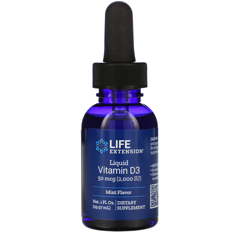 Life Extension, Liquid Vitamin D3, Mint Flavor, 2000 IU, 1 fl oz (29.57 ml)