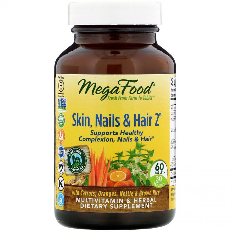 MegaFood, Skin, Nails & Hair 2, 60 Tablets