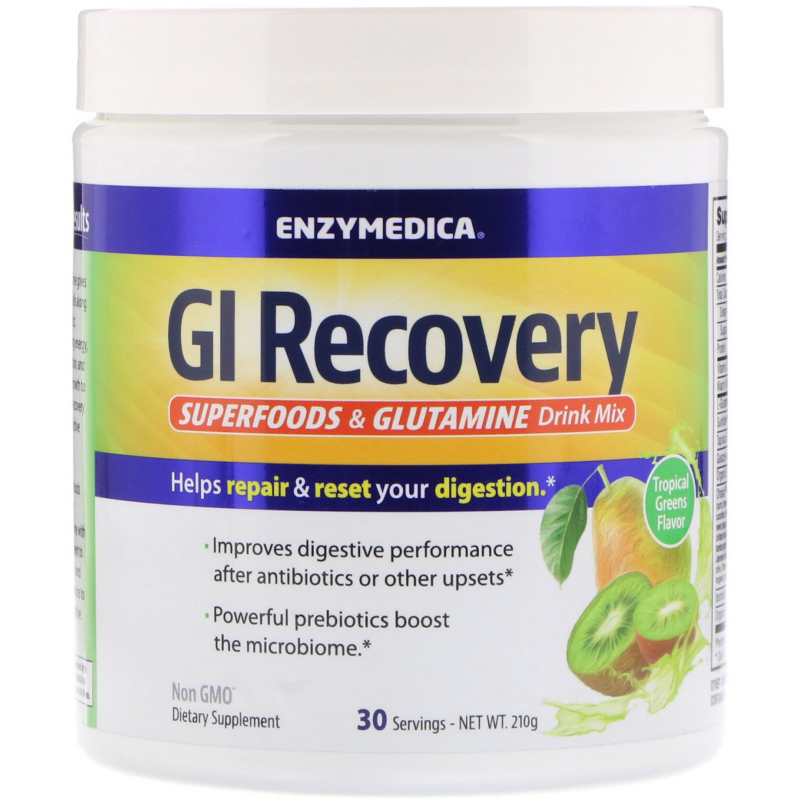 Enzymedica, GI Recovery Superfoods & Glutamine Drink Mix, Tropical Greens Flavor, 210 g